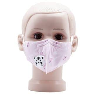 Child Pink mask with valve for Covid 19 Coronavirus front