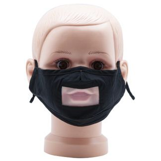 Black Child Mask Fabric with Clear Mouth Shield and Adjustable Earloops for Deaf