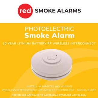 Red R10RF Photoelectric Smoke Alarm 10 Year Lithium Battery Wireless Interconnect Box