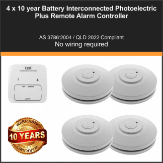 4 x Red R10RF Photoelectric Interconnected Smoke Alarm 10 Year Lithium Battery Wireless + Smoke Alarm Controller