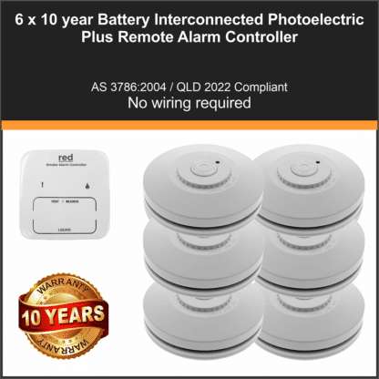 6 x Red R10RF Photoelectric Interconnected Smoke Alarm 10 Year Lithium Battery Wireless + Smoke Alarm Controller